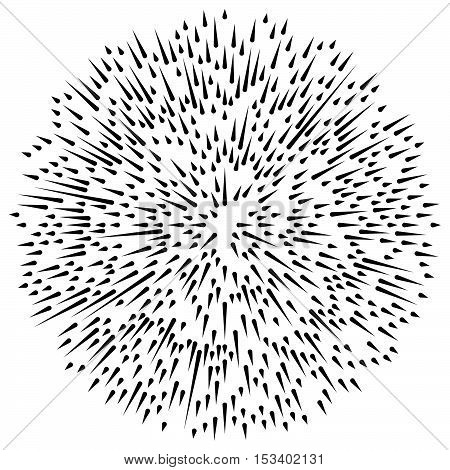 Radial, Radiating Irregular, Asymmetric Lines. Explosion Effect. Abstract Lines Element