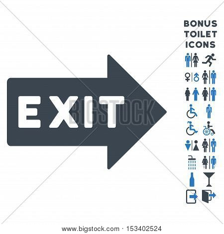Exit Arrow icon and bonus man and lady toilet symbols. Vector illustration style is flat iconic bicolor symbols, smooth blue colors, white background.