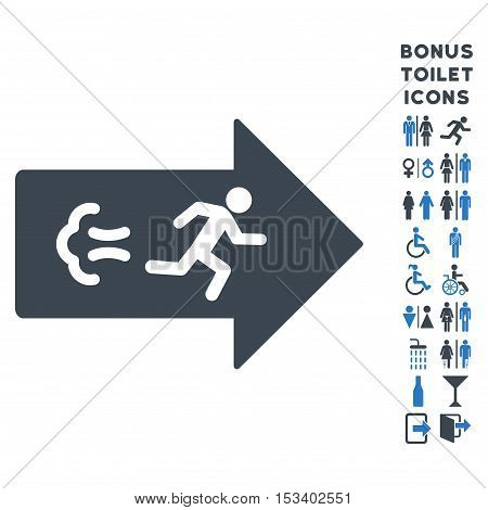 Exit Direction icon and bonus gentleman and woman toilet symbols. Vector illustration style is flat iconic bicolor symbols, smooth blue colors, white background.
