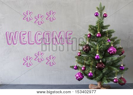 Christmas Tree With Purple Christmas Tree Balls. Card For Seasons Greetings. Gray Cement Or Concrete Wall For Urban, Modern Industrial Styl. English Text Welcome