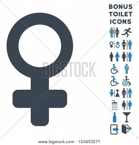 Female Symbol icon and bonus male and lady lavatory symbols. Vector illustration style is flat iconic bicolor symbols, smooth blue colors, white background.