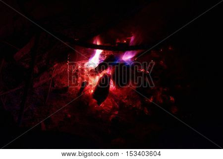 Red hot. Charcoal or coal burning in a furnace or fire pit.