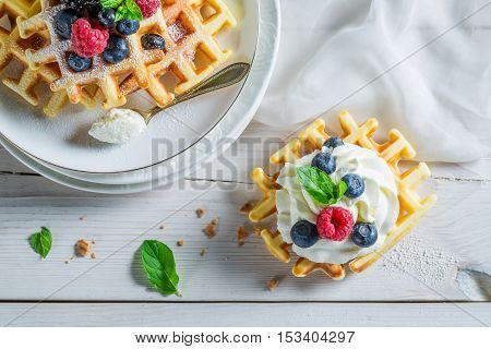 Tasty Berries With Waffels And Mint Leaves