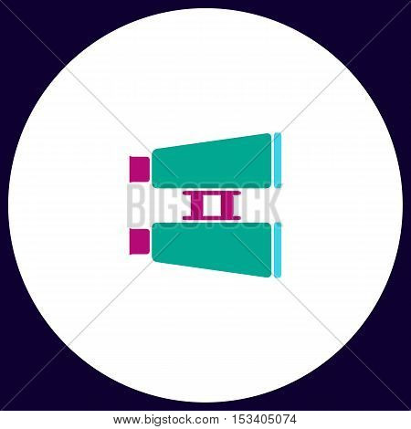 binoculars Simple vector button. Illustration symbol. Color flat icon
