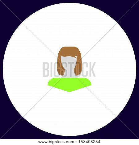 Girl head Simple vector button. Illustration symbol. Color flat icon