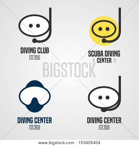 Set, collection of diving, snorkeling vector icons, sign, symbol, emblem, logo. Template graphic design elements with snorkel tune, mask for diving club