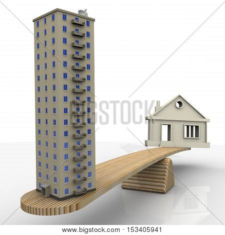 House or apartment. Private house and apartment building weighed on the scales. The concept of comparing the types of housing. Isolated. 3D Illustration