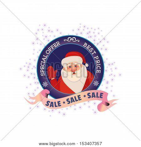 Winter sale concept. Best price holiday season badge with Santa. Special offer promotion emblem. Design element Christmas decoration. Background for festive hot deal advertisement. Vector illustration