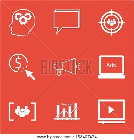 Set Of Seo Icons On Digital Media, Ppc And Media Campaign Topics. Editable Vector Illustration. Incl