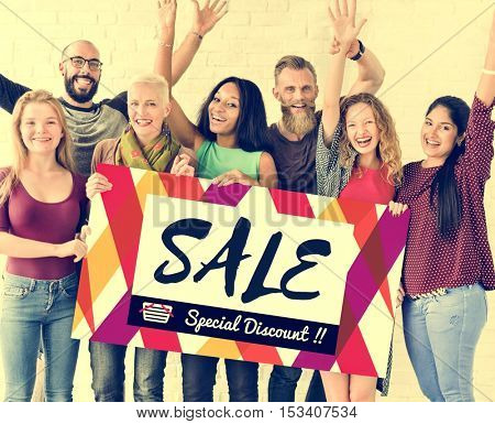 People Friendship Arms Raised Happiness Sale Discount Banner Concept