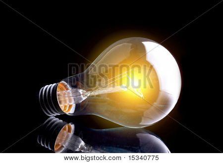 Photo of light bulb on black