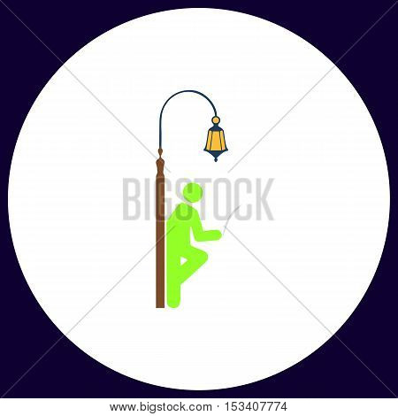 Man reading Simple vector button. Illustration symbol. Color flat icon