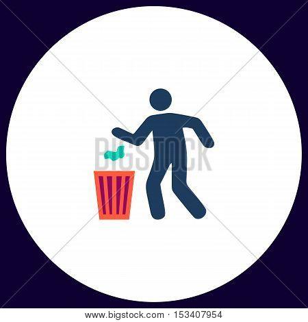 Trash bin Simple vector button. Illustration symbol. Color flat icon