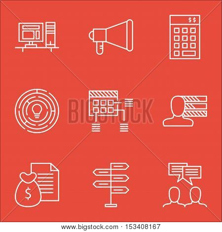 Set Of Project Management Icons On Discussion, Report And Personal Skills Topics. Editable Vector Il