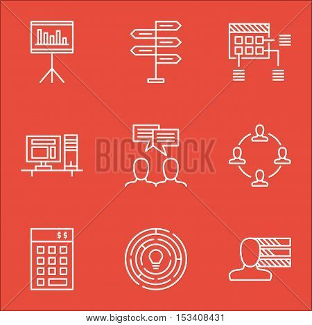 Set Of Project Management Icons On Presentation, Innovation And Discussion Topics. Editable Vector I