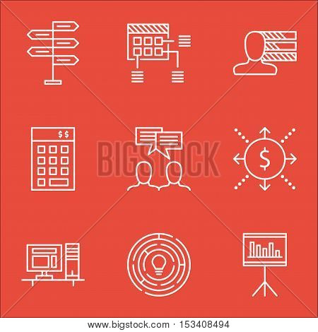 Set Of Project Management Icons On Schedule, Presentation And Computer Topics. Editable Vector Illus