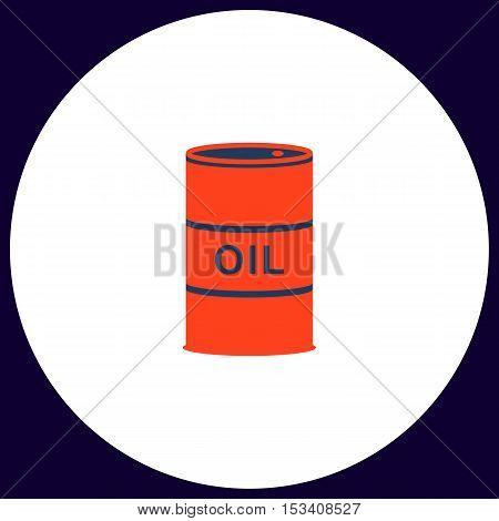 Oil barrels Simple vector button. Illustration symbol. Color flat icon