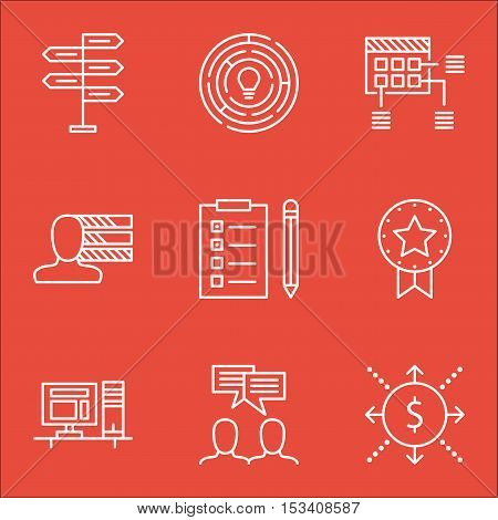Set Of Project Management Icons On Discussion, Money And Computer Topics. Editable Vector Illustrati