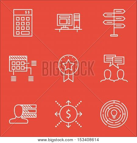 Set Of Project Management Icons On Opportunity, Schedule And Present Badge Topics. Editable Vector I