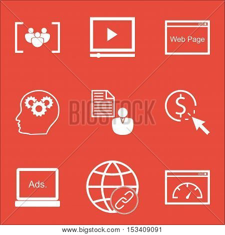 Set Of Seo Icons On Loading Speed, Connectivity And Ppc Topics. Editable Vector Illustration. Includ