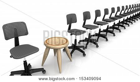 One wooden stool among office chairs lined up in a row. Isolated. 3D Illustration