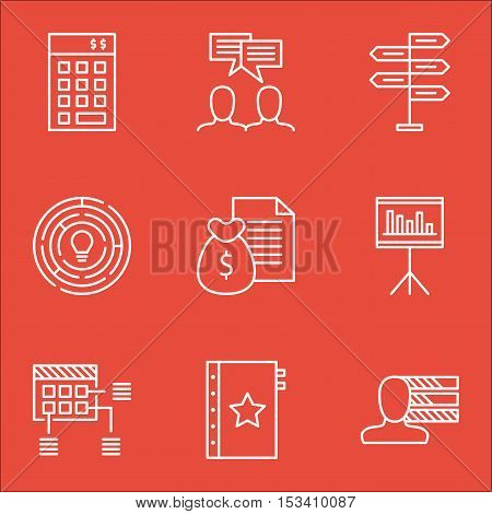 Set Of Project Management Icons On Innovation, Opportunity And Schedule Topics. Editable Vector Illu
