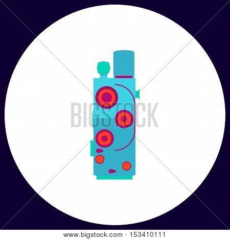 Retro cinema Simple vector button. Illustration symbol. Color flat icon