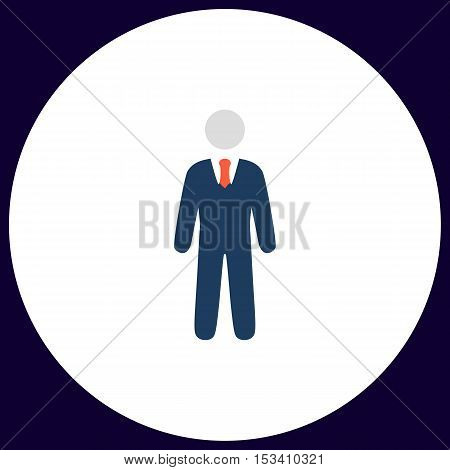 Businessman Simple vector button. Illustration symbol. Color flat icon