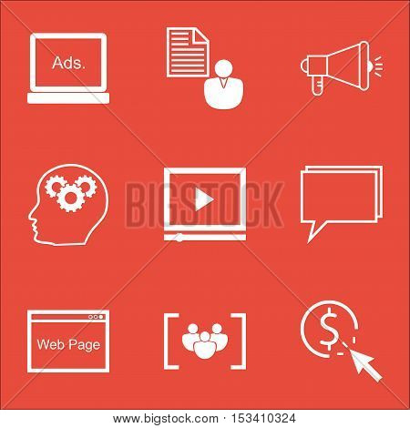 Set Of Seo Icons On Conference, Digital Media And Ppc Topics. Editable Vector Illustration. Includes