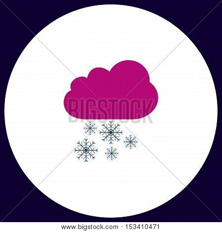 snowfall Simple vector button. Illustration symbol. Color flat icon