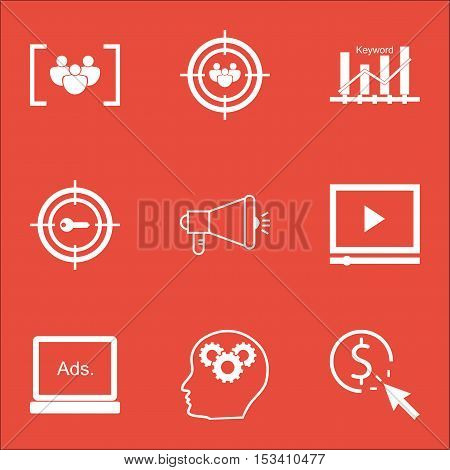Set Of Advertising Icons On Focus Group, Media Campaign And Keyword Marketing Topics. Editable Vecto
