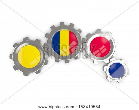 Flag Of Chad, Metallic Gears With Colors Of The Flag