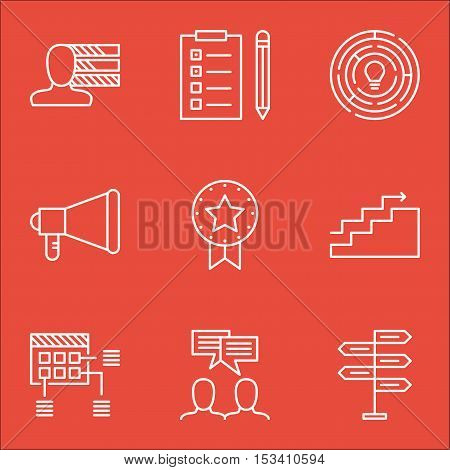 Set Of Project Management Icons On Schedule, Announcement And Reminder Topics. Editable Vector Illus
