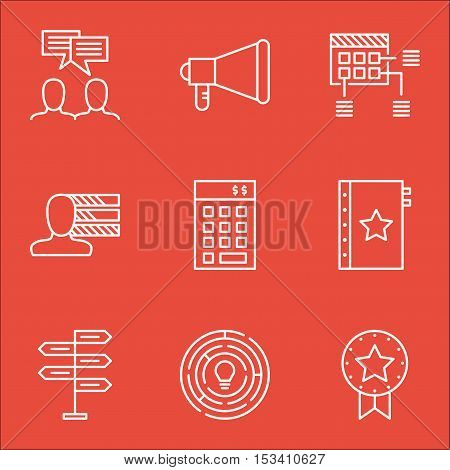 Set Of Project Management Icons On Warranty, Investment And Announcement Topics. Editable Vector Ill
