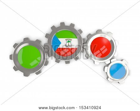 Flag Of Equatorial Guinea, Metallic Gears With Colors Of The Flag