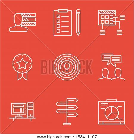 Set Of Project Management Icons On Personal Skills, Board And Present Badge Topics. Editable Vector