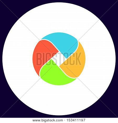 Wave circle Simple vector button. Illustration symbol. Color flat icon