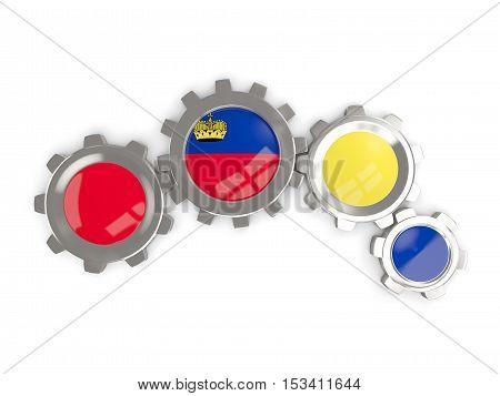 Flag Of Liechtenstein, Metallic Gears With Colors Of The Flag