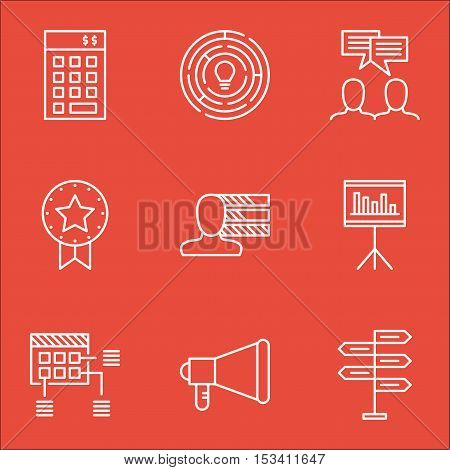 Set Of Project Management Icons On Personal Skills, Announcement And Presentation Topics. Editable V