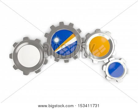 Flag Of Marshall Islands, Metallic Gears With Colors Of The Flag