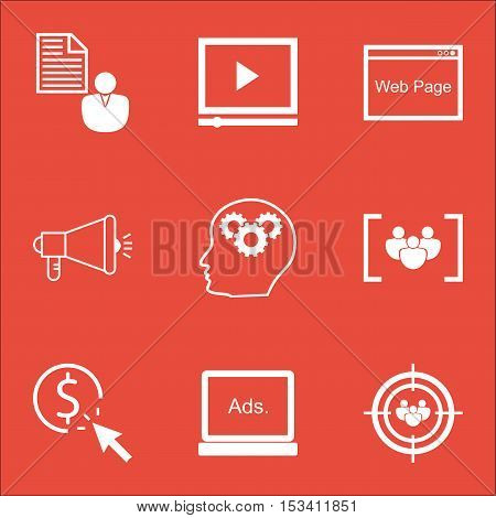 Set Of Advertising Icons On Focus Group, Website And Report Topics. Editable Vector Illustration. In