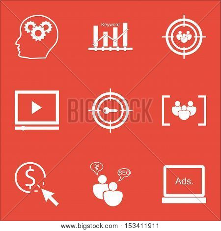 Set Of Marketing Icons On Brain Process, Ppc And Questionnaire Topics. Editable Vector Illustration.
