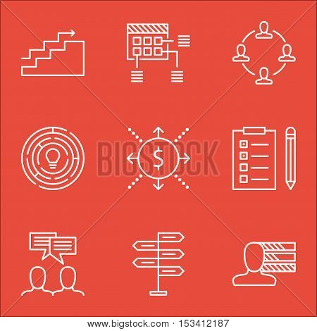 Set Of Project Management Icons On Reminder, Discussion And Schedule Topics. Editable Vector Illustr