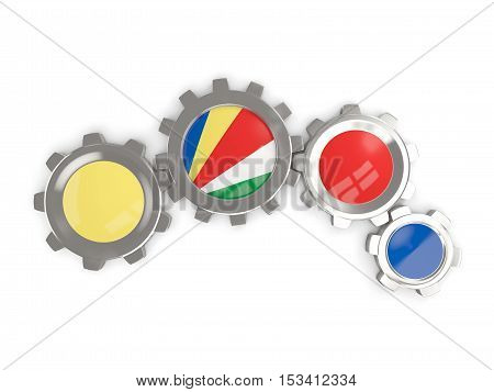 Flag Of Seychelles, Metallic Gears With Colors Of The Flag