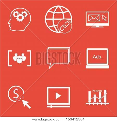 Set Of Advertising Icons On Connectivity, Questionnaire And Keyword Optimisation Topics. Editable Ve
