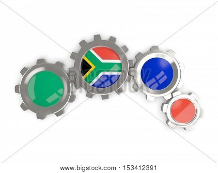 Flag Of South Africa, Metallic Gears With Colors Of The Flag