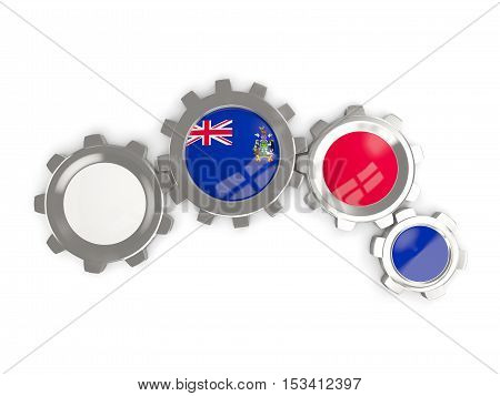 Flag Of South Georgia And The South Sandwich Islands, Metallic Gears With Colors Of The Flag