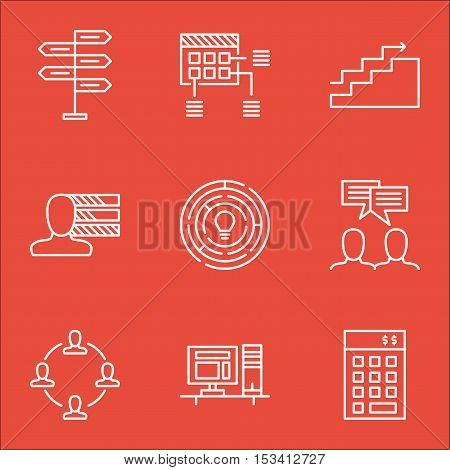 Set Of Project Management Icons On Personal Skills, Discussion And Innovation Topics. Editable Vecto