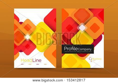 Modern square business annual report cover template. Vector brochure background