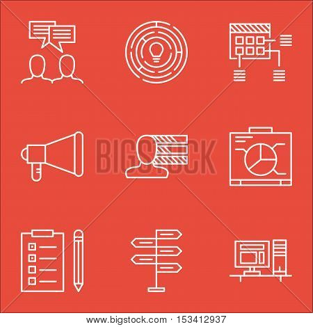 Set Of Project Management Icons On Computer, Schedule And Reminder Topics. Editable Vector Illustrat